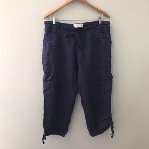 Joie navy linen Capri pants size 8